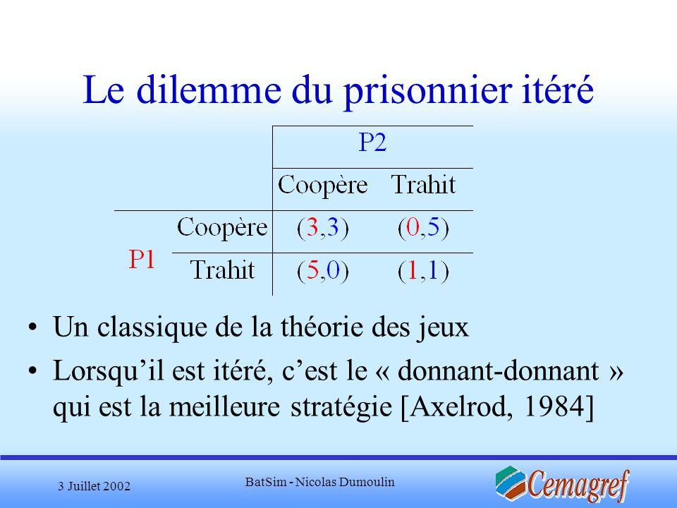 3 Juillet 2002 BatSim - Nicolas Dumoulin Le dilemme du prisonnier itéré Un classique de la théorie des jeux Lorsquil est itéré, cest le « donnant-donn