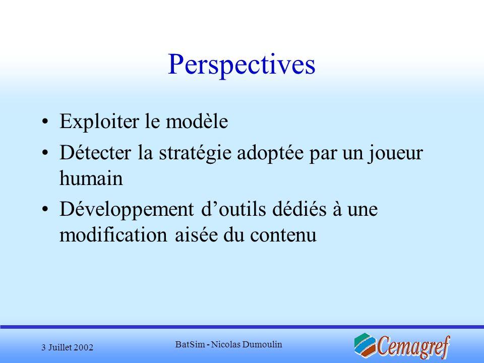 3 Juillet 2002 BatSim - Nicolas Dumoulin Perspectives Exploiter le modèle Détecter la stratégie adoptée par un joueur humain Développement doutils déd