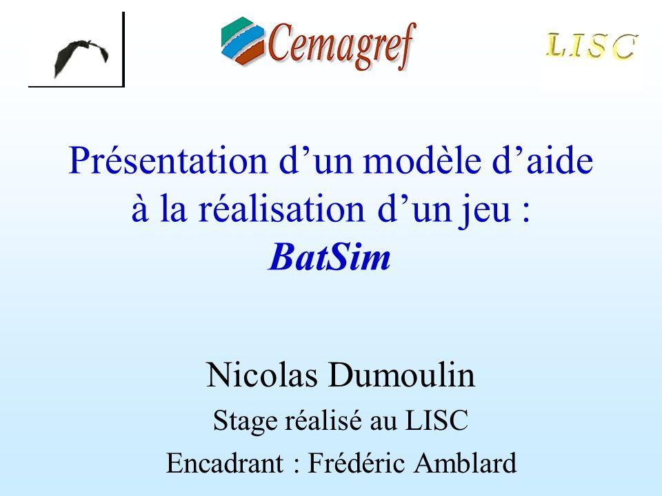 Présentation dun modèle daide à la réalisation dun jeu : BatSim Nicolas Dumoulin Stage réalisé au LISC Encadrant : Frédéric Amblard