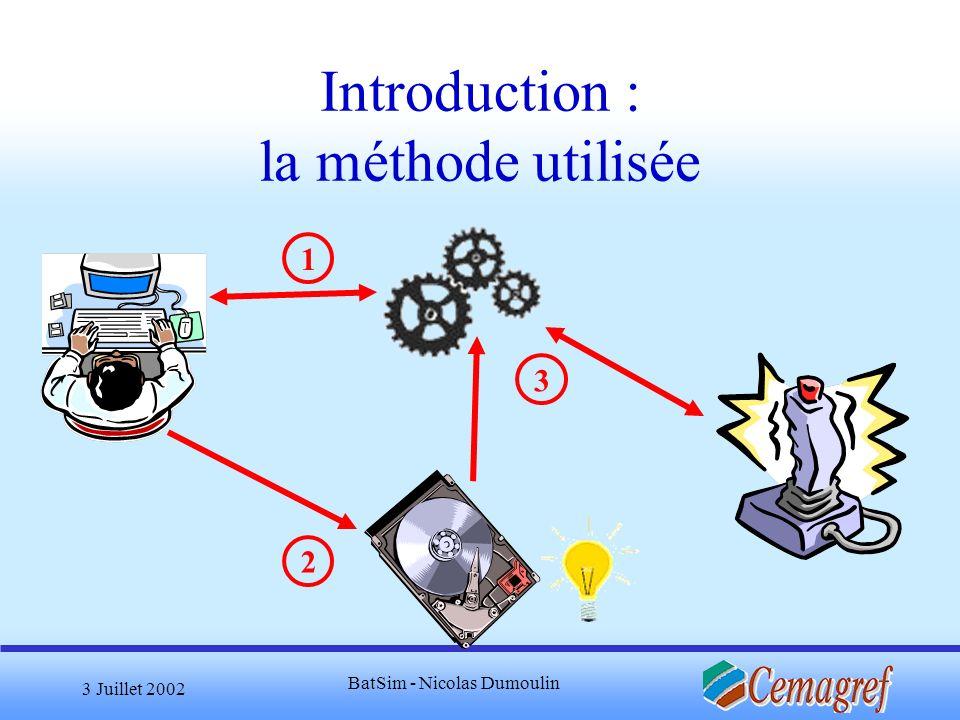 3 Juillet 2002 BatSim - Nicolas Dumoulin Perspectives Exploiter le modèle Détecter la stratégie adoptée par un joueur humain Développement doutils dédiés à une modification aisée du contenu