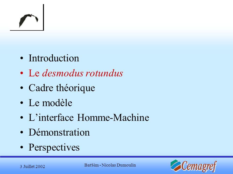 3 Juillet 2002 BatSim - Nicolas Dumoulin Questions Spécifications du jeu: Scénario (déroulement du jeu) format du contenu (vidéo, images, Flash) Place de la simulation dans le jeu Les à-cotés du jeu (analyse stats, simulation) Site Web, Applet .