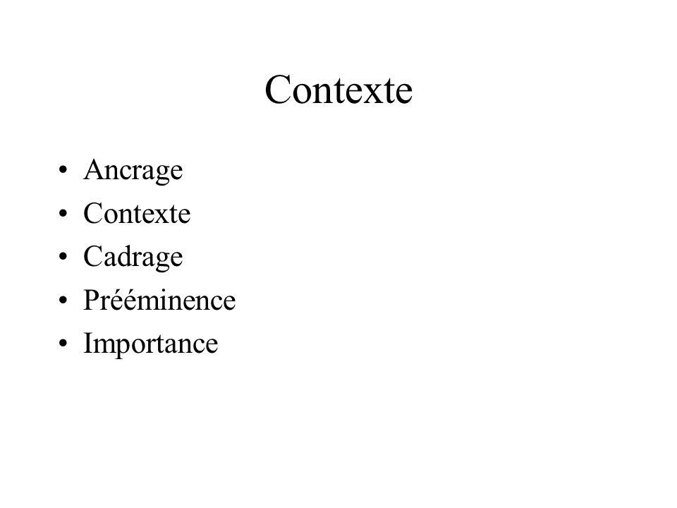 Contexte Ancrage Contexte Cadrage Prééminence Importance