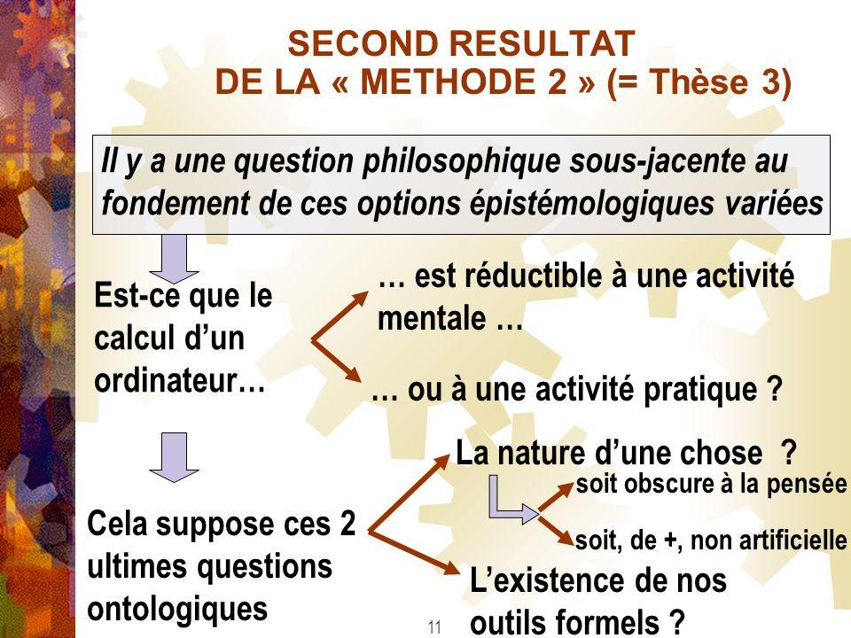 SECOND RESULTAT DE LA « METHODE 2 » (= Thèse 3) Il y a une question philosophique sous-jacente au fondement de ces options épistémologiques variées Es