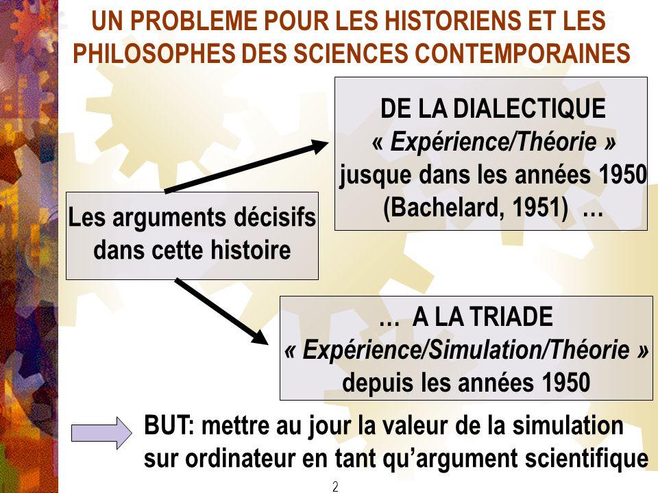 2 UN PROBLEME POUR LES HISTORIENS ET LES PHILOSOPHES DES SCIENCES CONTEMPORAINES Les arguments décisifs dans cette histoire DE LA DIALECTIQUE « Expéri