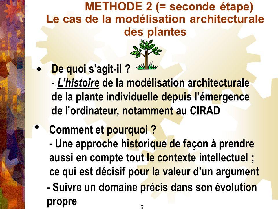 6 METHODE 2 (= seconde étape) Le cas de la modélisation architecturale des plantes Comment et pourquoi ? - Une approche historique de façon à prendre