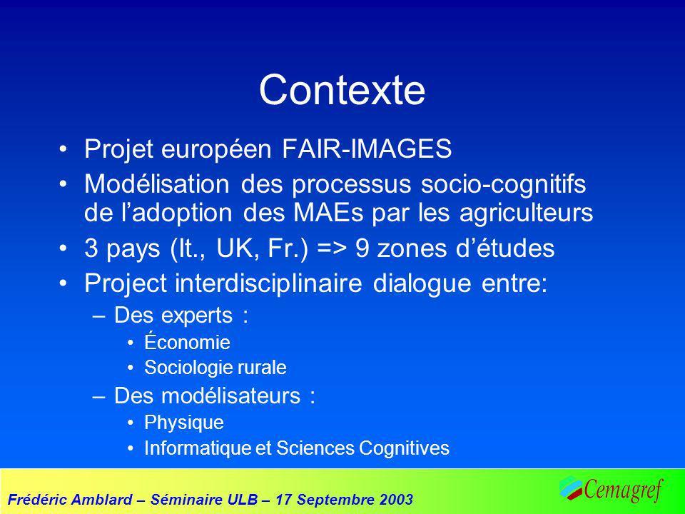 Frédéric Amblard – Séminaire ULB – 17 Septembre 2003 Contexte Projet européen FAIR-IMAGES Modélisation des processus socio-cognitifs de ladoption des