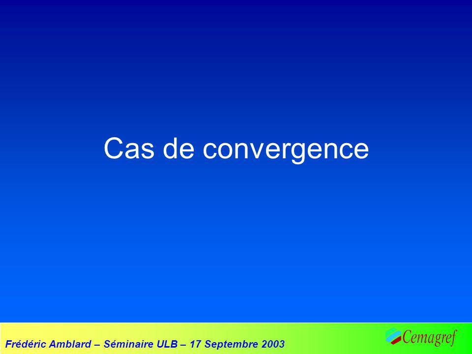 Frédéric Amblard – Séminaire ULB – 17 Septembre 2003 Cas de convergence