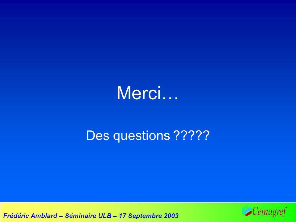 Frédéric Amblard – Séminaire ULB – 17 Septembre 2003 Merci… Des questions