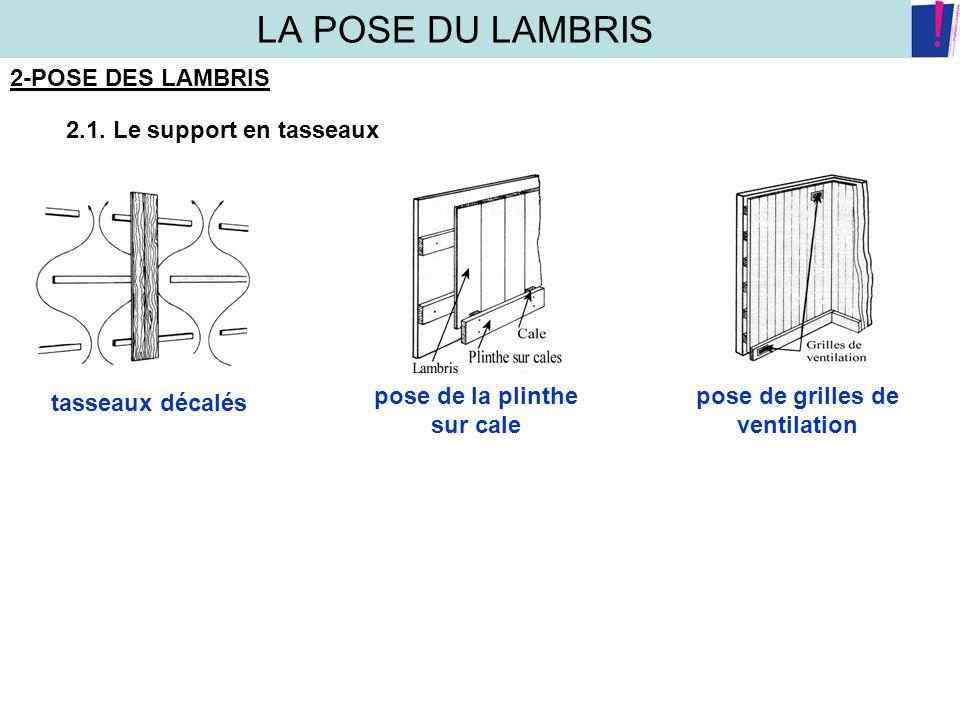 LA POSE DU LAMBRIS 2-POSE DES LAMBRIS 2.1. Le support en tasseaux tasseaux décalés pose de la plinthe sur cale pose de grilles de ventilation