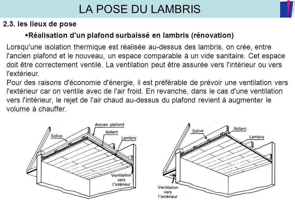 LA POSE DU LAMBRIS 2.3. les lieux de pose Réalisation d'un plafond surbaissé en lambris (rénovation) Lorsqu'une isolation thermique est réalisée au-de