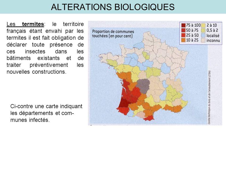 ALTERATIONS BIOLOGIQUES Les termites: le territoire français étant envahi par les termites il est fait obligation de déclarer toute présence de ces in