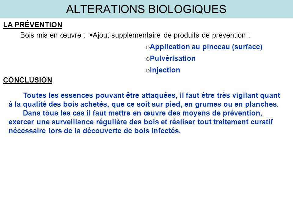 ALTERATIONS BIOLOGIQUES LA PRÉVENTION Bois mis en œuvre : Ajout supplémentaire de produits de prévention : o Application au pinceau (surface) o Pulvér
