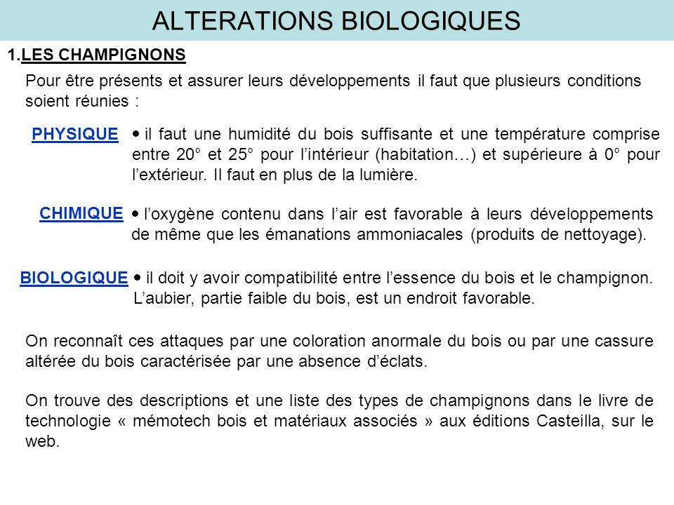 ALTERATIONS BIOLOGIQUES 1.LES CHAMPIGNONS Pour être présents et assurer leurs développements il faut que plusieurs conditions soient réunies : il faut