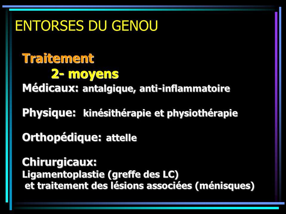 ENTORSES DU GENOU Traitement 2- moyens Médicaux: antalgique, anti-inflammatoire Physique: kinésithérapie et physiothérapie Orthopédique: attelle Chiru