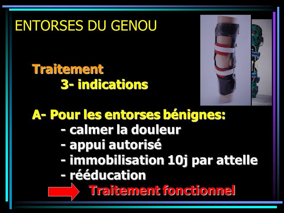 ENTORSES DU GENOU Traitement 3- indications A- Pour les entorses bénignes: - calmer la douleur - appui autorisé - immobilisation 10j par attelle - réé
