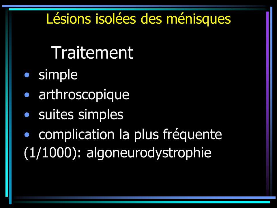 Lésions isolées des ménisques Traitement simple arthroscopique suites simples complication la plus fréquente (1/1000): algoneurodystrophie