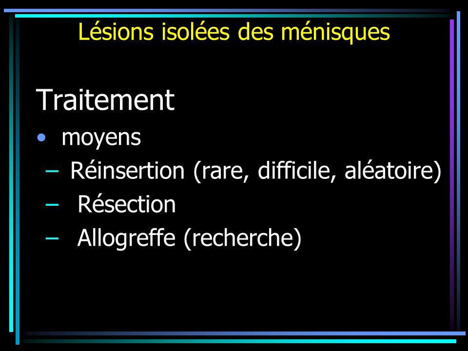 Lésions isolées des ménisques Traitement moyens –Réinsertion (rare, difficile, aléatoire) – Résection – Allogreffe (recherche)