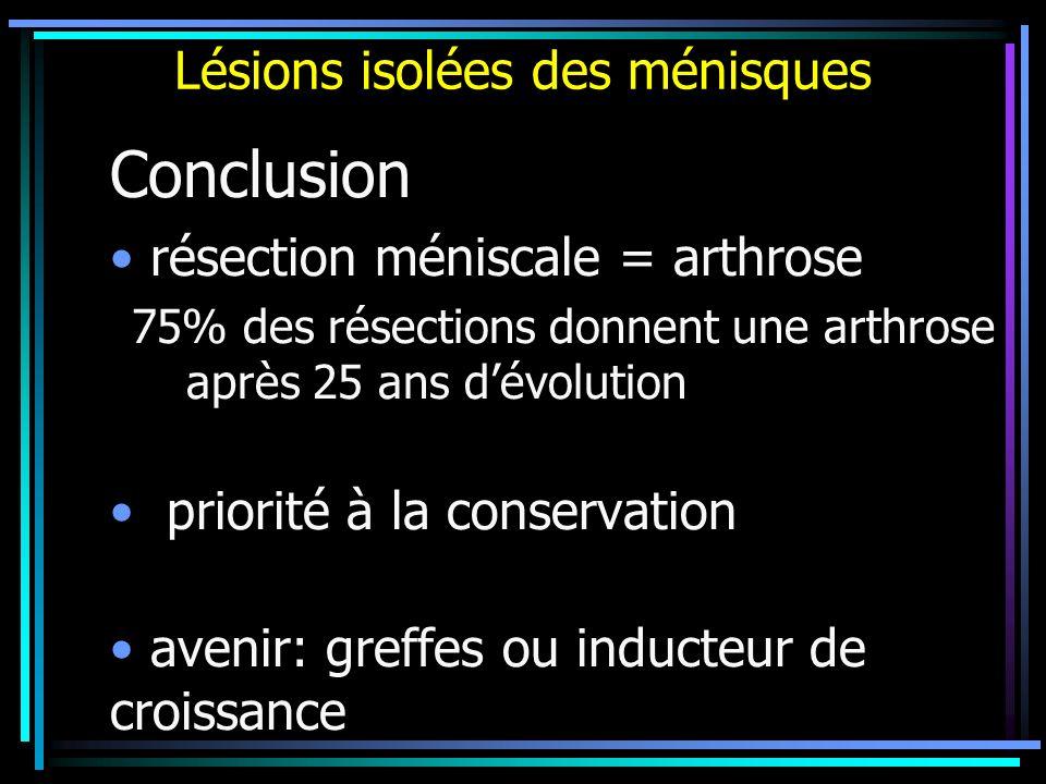 Lésions isolées des ménisques Conclusion résection méniscale = arthrose 75% des résections donnent une arthrose après 25 ans dévolution priorité à la