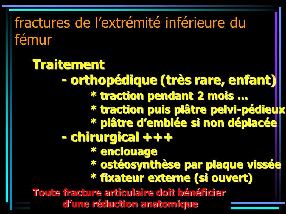 fractures de lextrémité inférieure du fémur Traitement - orthopédique (très rare, enfant) * traction pendant 2 mois … * traction puis plâtre pelvi-péd