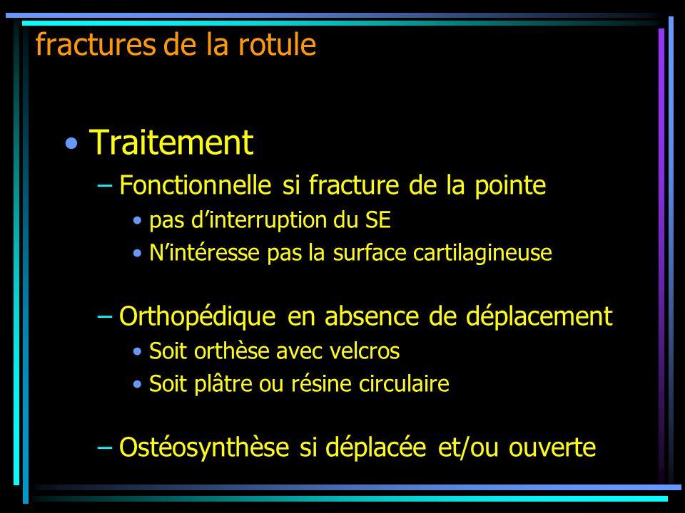 Traitement –Fonctionnelle si fracture de la pointe pas dinterruption du SE Nintéresse pas la surface cartilagineuse –Orthopédique en absence de déplac