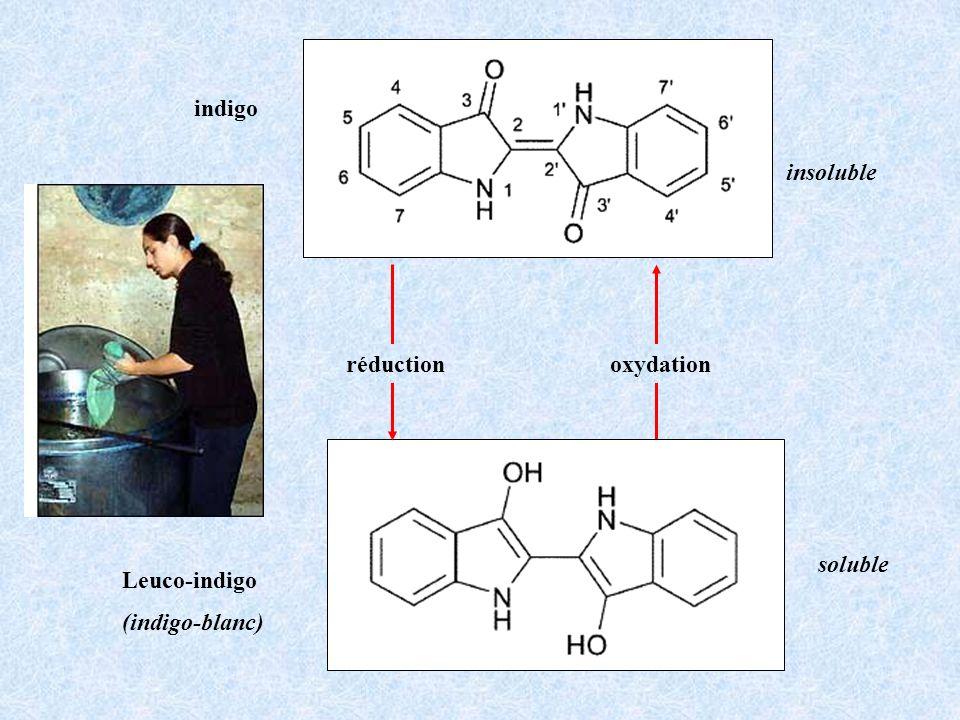 Leuco-indigo (indigo-blanc) indigo oxydationréduction insoluble soluble