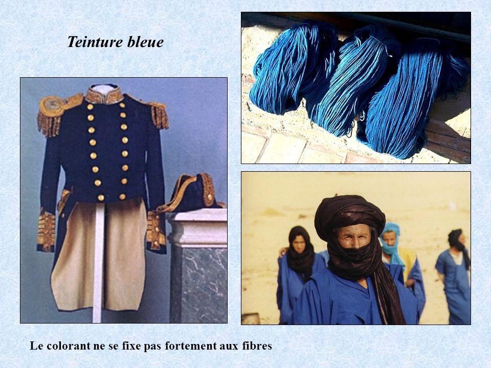 Teinture bleue Le colorant ne se fixe pas fortement aux fibres