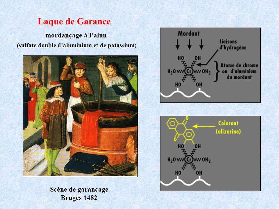 Laque de Garance mordançage à lalun (sulfate double daluminium et de potassium) Scène de garançage Bruges 1482