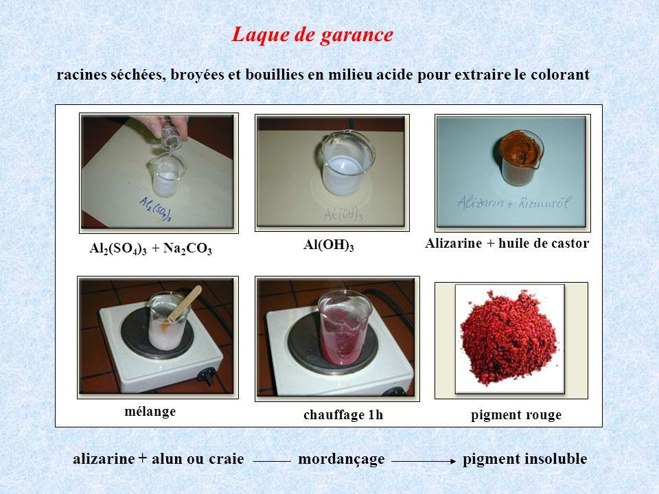 racines séchées, broyées et bouillies en milieu acide pour extraire le colorant Al 2 (SO 4 ) 3 + Na 2 CO 3 Al(OH) 3 Alizarine + huile de castor mélang