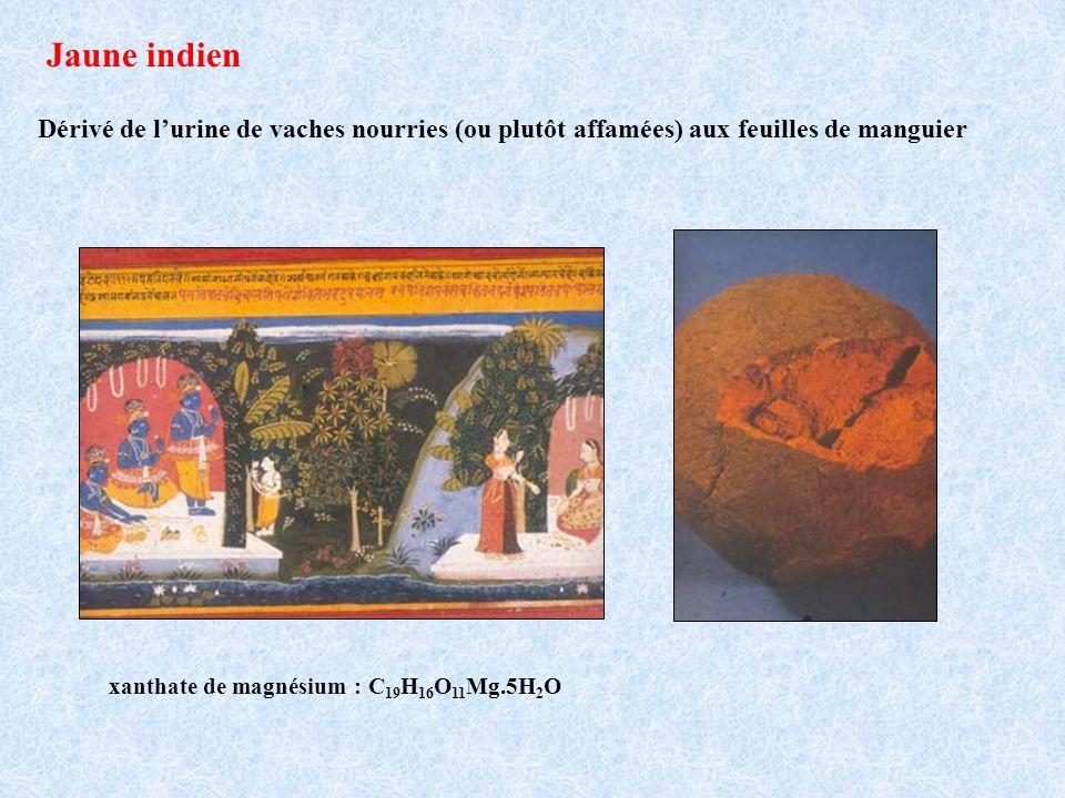 Jaune indien Dérivé de lurine de vaches nourries (ou plutôt affamées) aux feuilles de manguier xanthate de magnésium : C 19 H 16 O 11 Mg.5H 2 O