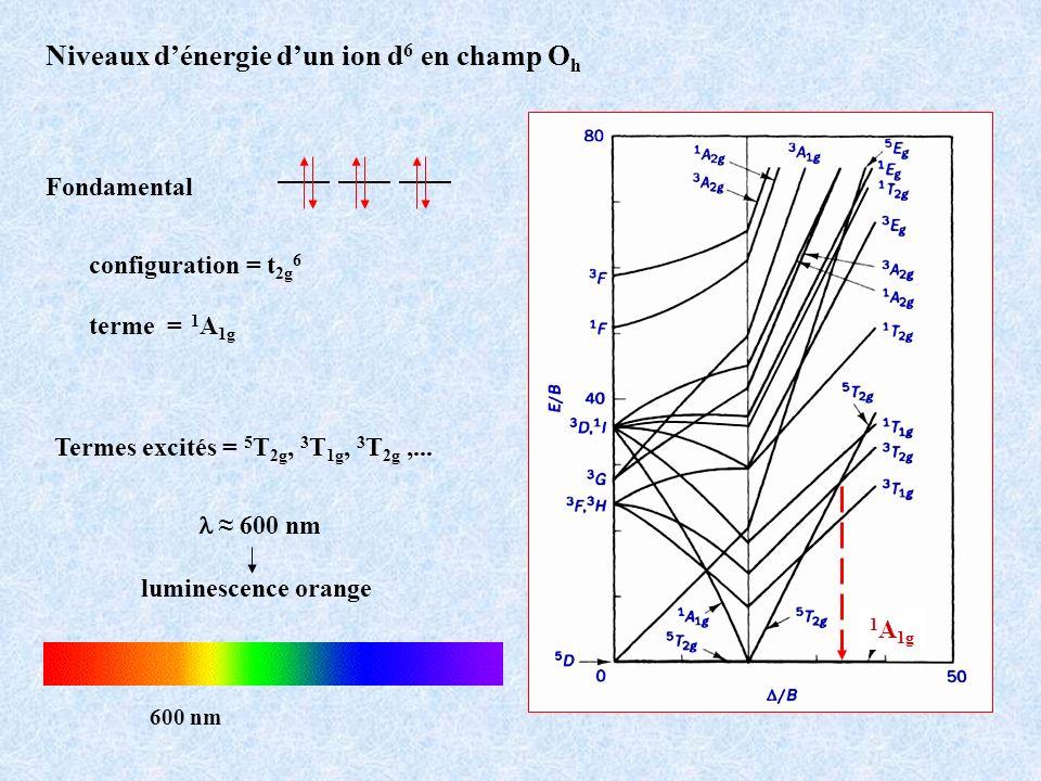 Niveaux dénergie dun ion d 6 en champ O h Fondamental configuration = t 2g 6 terme = 1 A 1g 1 A 1g Termes excités = 5 T 2g, 3 T 1g, 3 T 2g,... 600 nm