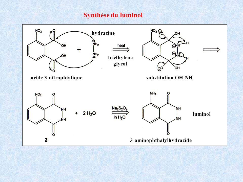 Synthèse du luminol acide 3-nitrophtalique hydrazine triéthylène glycol substitution OH-NH 3-aminophthalylhydrazide luminol