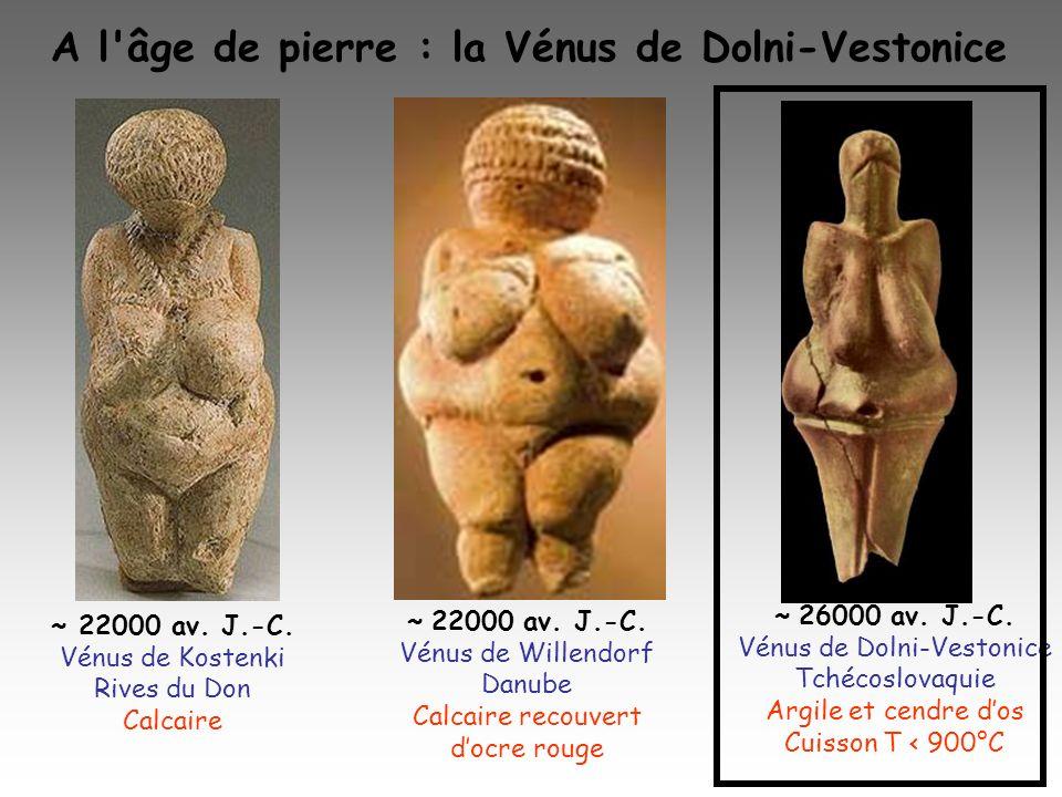 A l'âge de pierre : la Vénus de Dolni-Vestonice ~ 26000 av. J.-C. Vénus de Dolni-Vestonice Tchécoslovaquie Argile et cendre dos Cuisson T < 900°C ~ 22