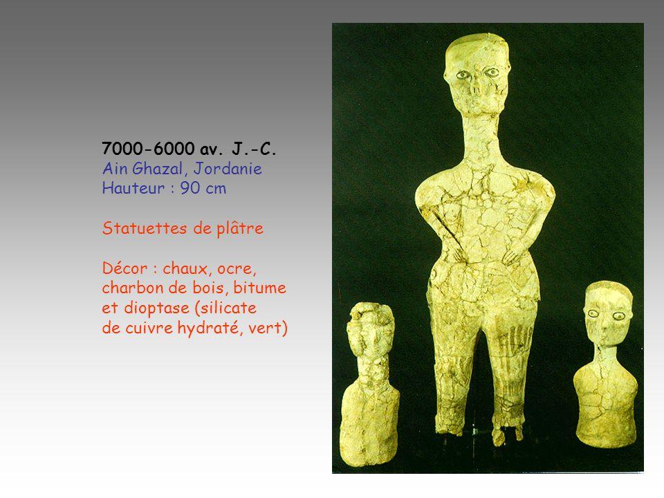7000-6000 av. J.-C. Ain Ghazal, Jordanie Hauteur : 90 cm Statuettes de plâtre Décor : chaux, ocre, charbon de bois, bitume et dioptase (silicate de cu