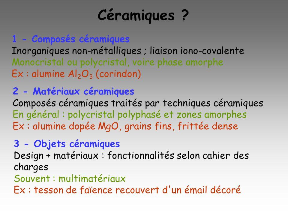 Céramiques ? 1 - Composés céramiques Inorganiques non-métalliques ; liaison iono-covalente Monocristal ou polycristal, voire phase amorphe Ex : alumin