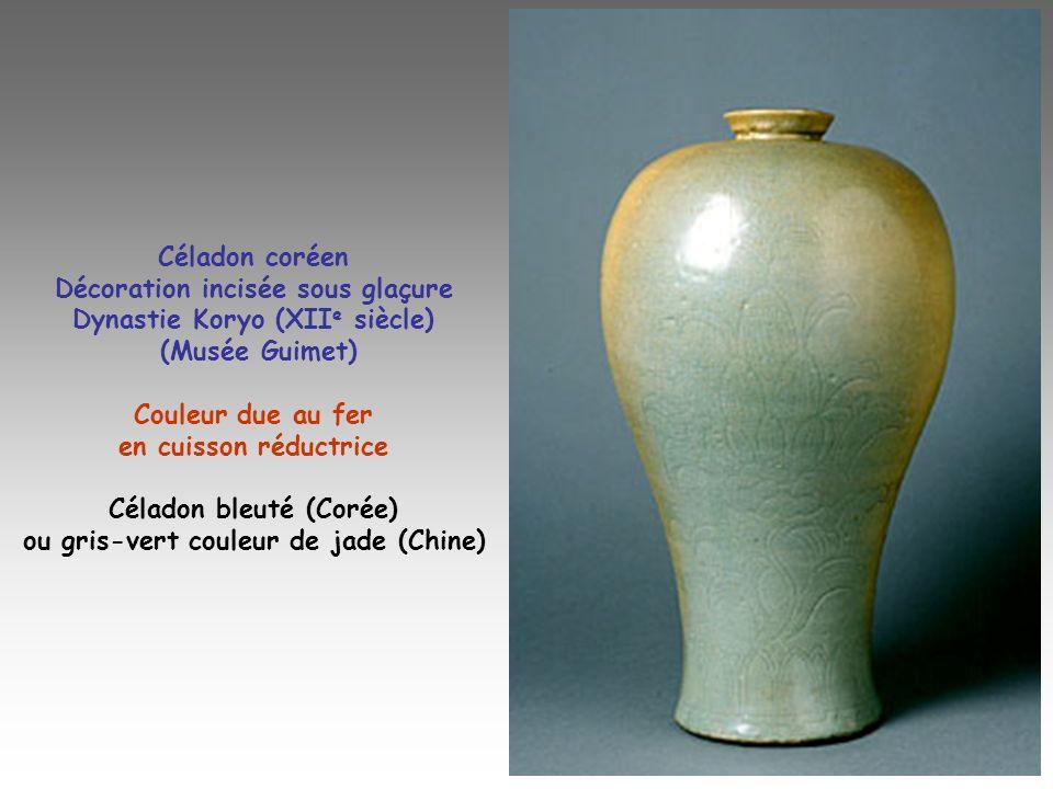 Céladon coréen Décoration incisée sous glaçure Dynastie Koryo (XII e siècle) (Musée Guimet) Couleur due au fer en cuisson réductrice Céladon bleuté (C