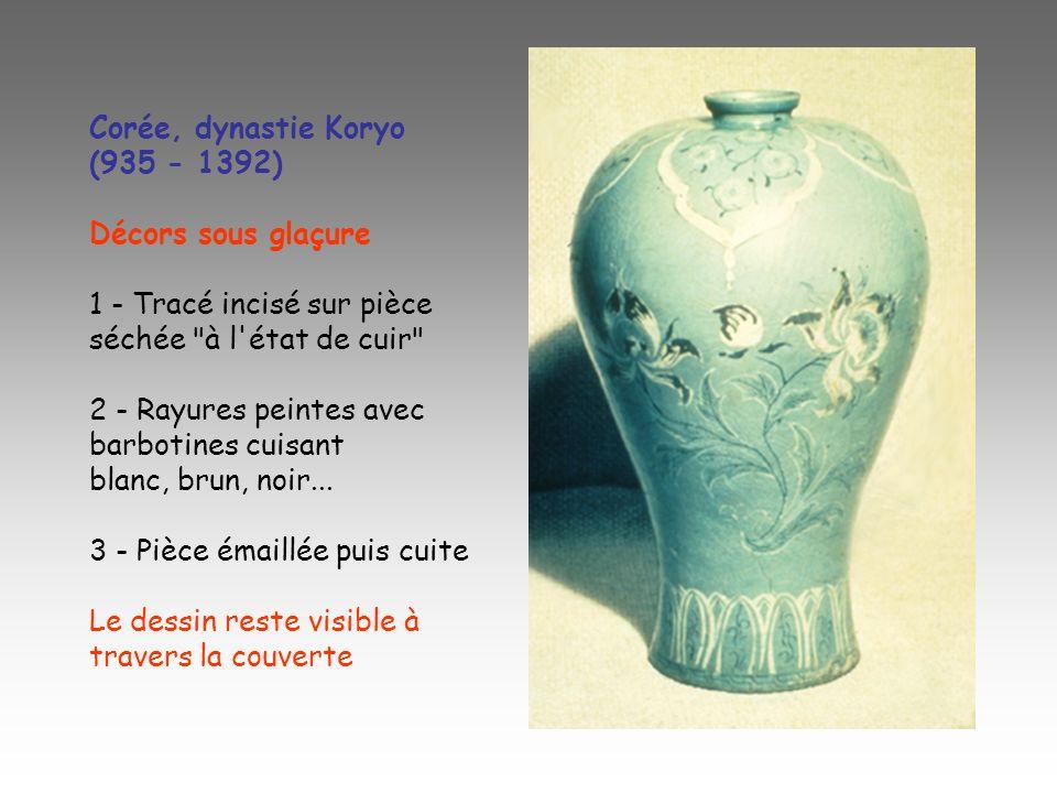 Corée, dynastie Koryo (935 - 1392) Décors sous glaçure 1 - Tracé incisé sur pièce séchée