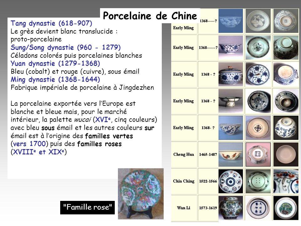 Tang dynastie (618-907) Le grès devient blanc translucide : proto-porcelaine Sung/Song dynastie (960 - 1279) Céladons colorés puis porcelaines blanche