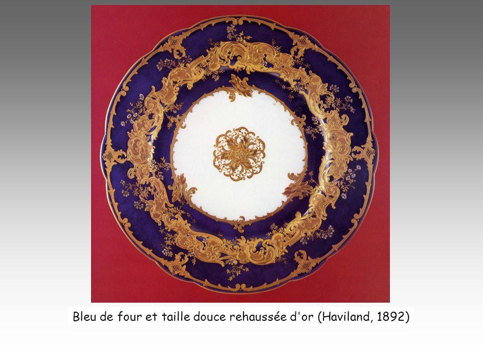 Bleu de four et taille douce rehaussée d'or (Haviland, 1892)
