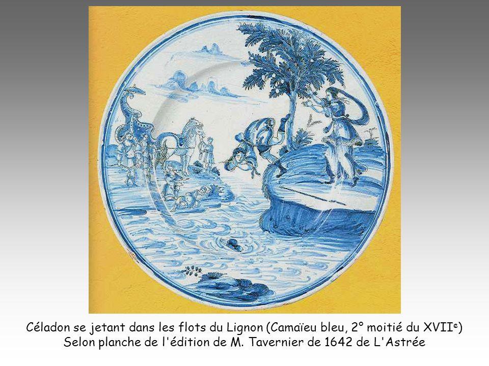 Céladon se jetant dans les flots du Lignon (Camaïeu bleu, 2° moitié du XVII e ) Selon planche de l'édition de M. Tavernier de 1642 de L'Astrée