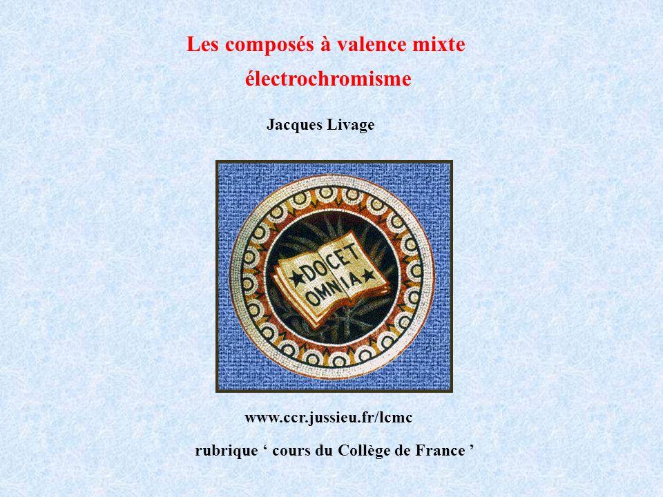 Les composés à valence mixte électrochromisme Jacques Livage Collège de France www.ccr.jussieu.fr/lcmc rubrique cours du Collège de France
