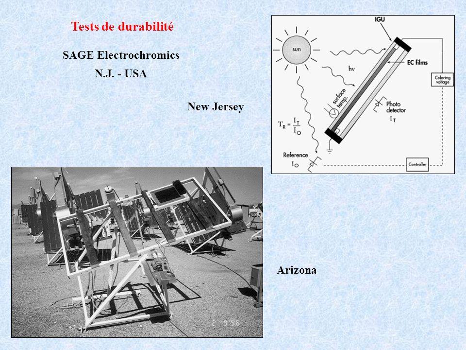 Tests de durabilité New Jersey Arizona SAGE Electrochromics N.J. - USA