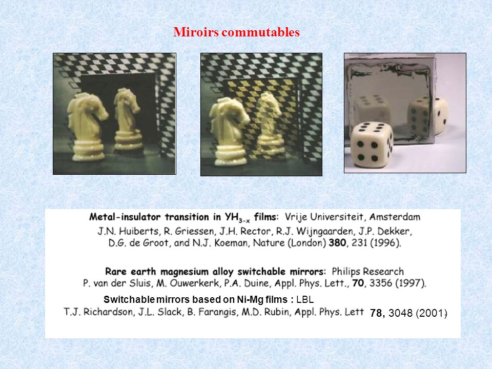 Miroirs commutables Switchable mirrors based on Ni-Mg films : LBL 78, 3048 (2001)