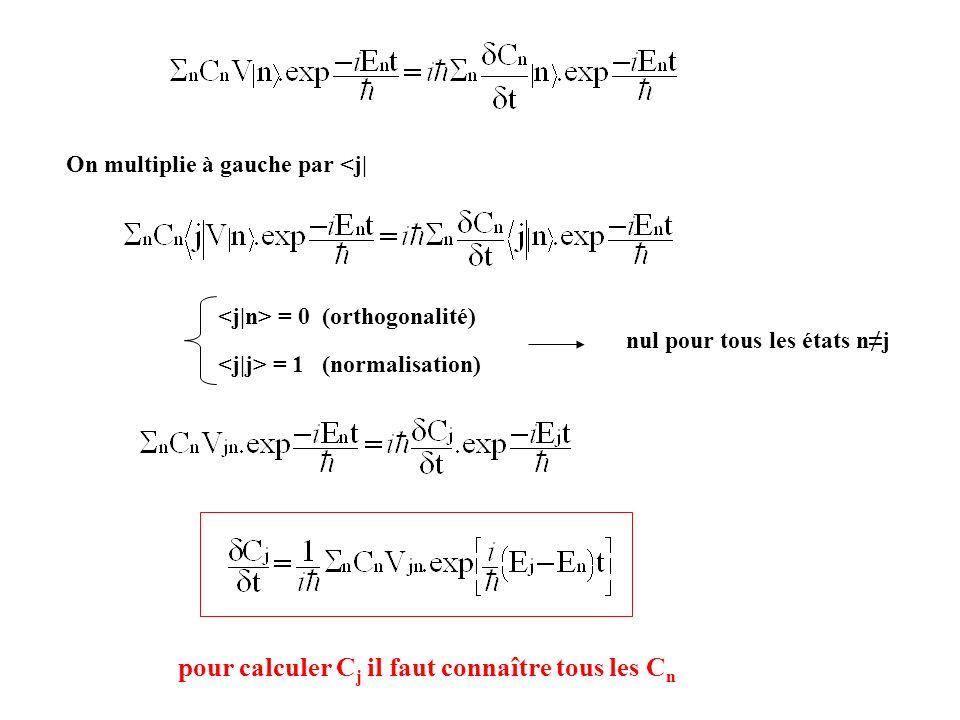 pour calculer C j il faut connaître tous les C n = 0 (orthogonalité) = 1 (normalisation) nul pour tous les états nj On multiplie à gauche par <j|