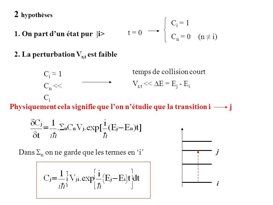 2 hypothèses 1. On part dun état pur |i> t = 0 C i = 1 C n = 0 (n i) 2. La perturbation V r,t est faible C i 1 C n << C i temps de collision court V r