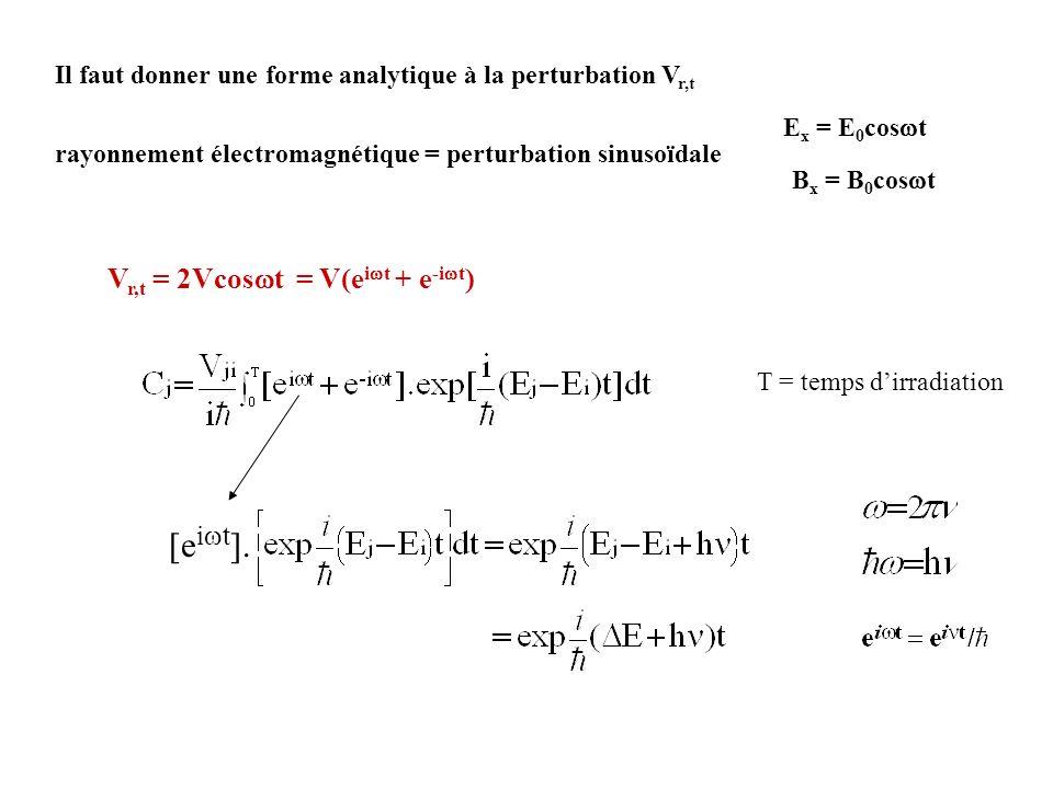 Il faut donner une forme analytique à la perturbation V r,t rayonnement électromagnétique = perturbation sinusoïdale V r,t = 2Vcos t = V(e i t + e -i
