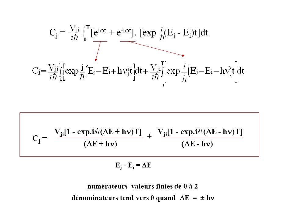 C j = [e i t + e -i t ]. [exp (E j - E i )t]dt 0 T numérateurs valeurs finies de 0 à 2 dénominateurs tend vers 0 quand E = ± h V ji [1 - exp.i/ ( E +