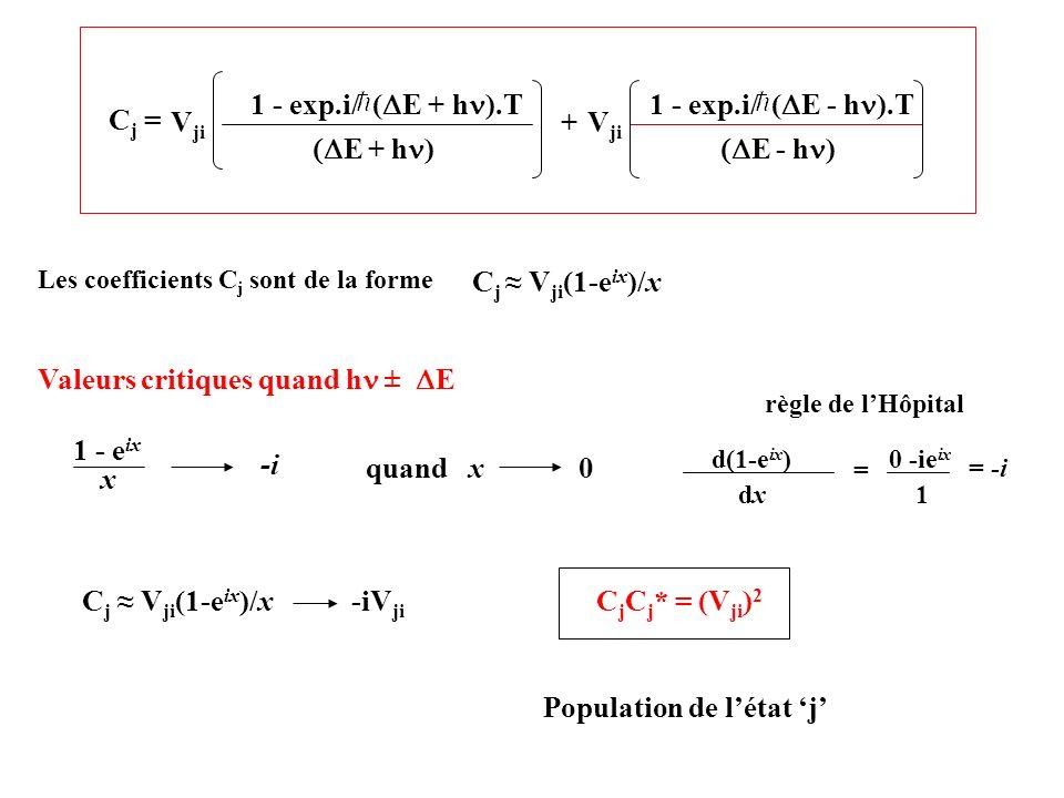 C j V ji (1-e ix )/x -iV ji C j C j * = (V ji ) 2 Population de létat j C j = E + h ) V ji 1 - exp.i/ ( E + h ).T E - h ) 1 - exp.i/ ( E - h ).T V ji