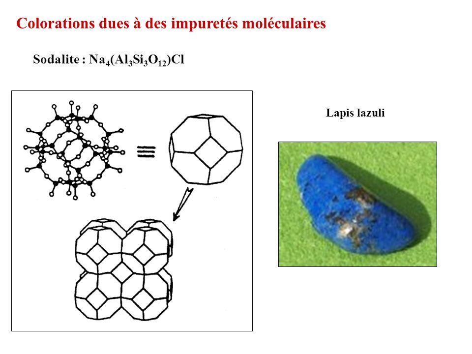 Colorations dues à des impuretés moléculaires Sodalite : Na 4 (Al 3 Si 3 O 12 )Cl Lapis lazuli