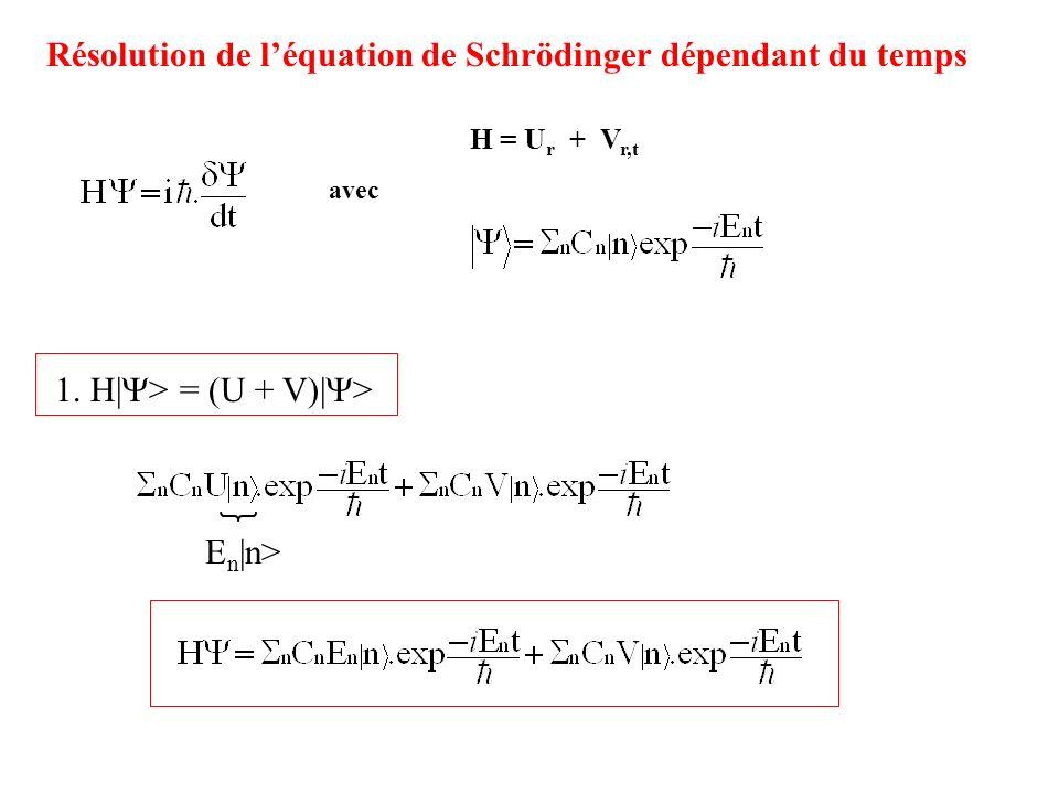 H = U r + V r,t 1. H| > = (U + V)| > E n |n> Résolution de léquation de Schrödinger dépendant du temps avec