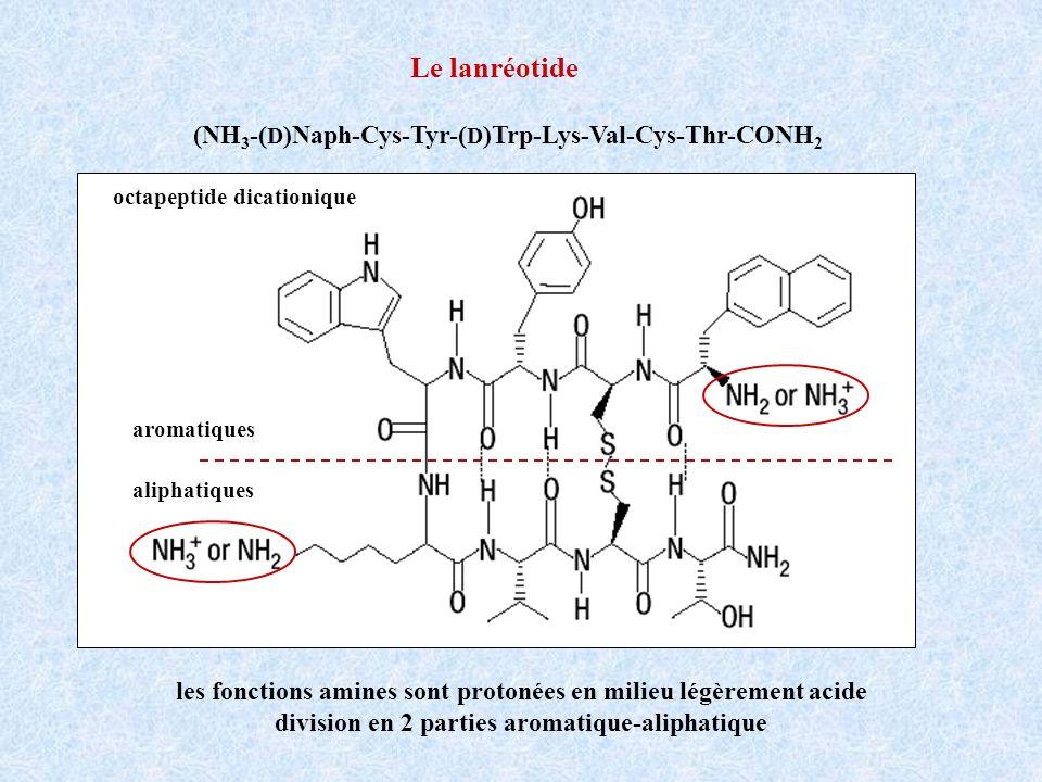 Le lanréotide les fonctions amines sont protonées en milieu légèrement acide division en 2 parties aromatique-aliphatique aromatiques aliphatiques oct